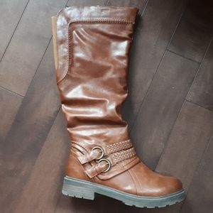 Tender Tootsies NOW! Tall Boots Cognac Brown Sz 9W